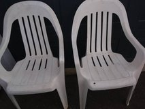 2 white plastic lawn chairs in Roseville, California