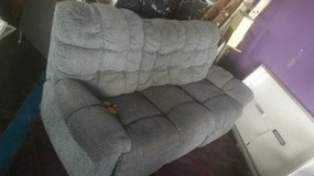 Nice Double Recliner Blue fabric Couch in Chicago, Illinois