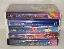 5 VHS DISNEY MOVIE LOT - Beauty & Beast, Snow White, Aladdin, Fantasia in Lockport, Illinois