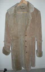 brandon thomas women's large suede leather coat, faux fur lined great in Plainfield, Illinois