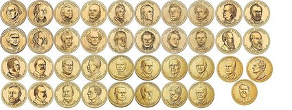 Presidential Dollar Coins Philadelphia mint... all 39 deceased presidents in air-tite capsules in Fort Belvoir, Virginia