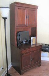 WOOD COMPUTER DESK / HUTCH - HIGH QUALITY - WALTER E. SMITHE in Joliet, Illinois