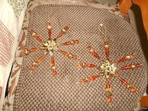 """2 Large Brown Beaded Flower Design Tree Ornaments!   4"""" h x 3 """" w in Bellaire, Texas"""