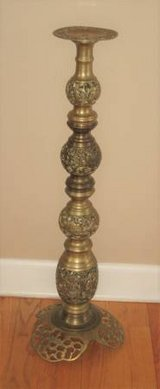 VINTAGE INTRICATE BRASS CANDLE HOLDER in Naperville, Illinois