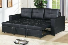 New Convertible Sofa Bed Black Leatherette  FREE DELIVERY in Camp Pendleton, California