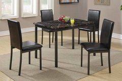 New! Black Metal and Marble Finish Table + 4 Chairs FREEDELIVERY in Camp Pendleton, California