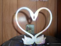 """Plastic Double Swans Heart Wedding Cake Topper Décor   5.25"""" x 5.5"""" - Mother Pearl color in Bellaire, Texas"""