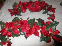 """(2) red poinsettia flower foliage swags.  each about 25"""" long!  pretty in Bellaire, Texas"""