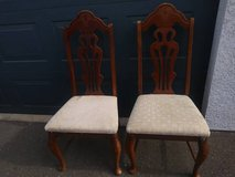2 beautiful wood chairs with padded seats in Roseville, California