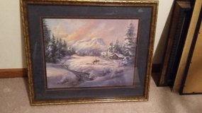 Framed Winter Cottage Deer print by Lee K Parkinson in Plainfield, Illinois