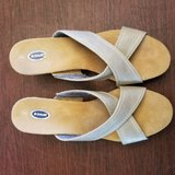 very good condition. with box. dr. scholls women's gold cork wedge sandals sz 9 in Plainfield, Illinois