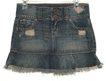 Hippie Distressed Pleated Fringed Denim Jean Skirt Womens 6 in Plainfield, Illinois