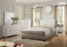 New QUEEN Size White with Gray Accent Bedframe FREE DELIVERY starting in Oceanside, California