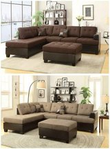 New! Chocolate Brown Linen Sectional + Ottoman  FREE DELIVERY in Camp Pendleton, California