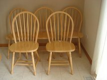 5 SOLID WOOD LIGHT OAK DINING CHAIRS in Naperville, Illinois