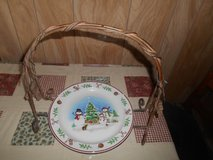 Lg Christmas Metal Plate State Trimmed w/ Holly Leaves.  Does not include plate (for pictures on... in Bellaire, Texas