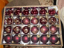 Pretty Red Burgundy and Gold Glitter Ornament Glass Balls! Package of 24 in Bellaire, Texas