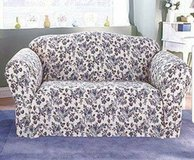 Sure Fit shabby cottage toile navy blue floral loveseat cover in Quantico, Virginia