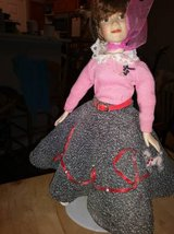 Wind Up Musical Porcelain Doll 50s Dressed in Poodle Skirt RARE Plays in Sacramento, California