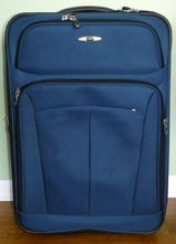 Like New! Skyway Rolling Suitcase - Navy Canvas Luggage in Orland Park, Illinois