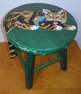 VINTAGE FOOT STOOL WITH CAT PAINTING in Aurora, Illinois