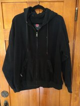 scottevest hoodie black microfleece fleece travel jacket full zip mens large in Elgin, Illinois