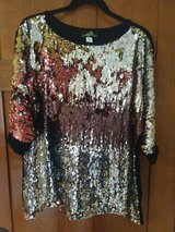 women's joan boyce burgundy silver gold sequins evening top blouse shirt sz l in Elgin, Illinois
