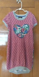 hannah banana girls pink peace embellished heart sweater dress, size 14 in Elgin, Illinois