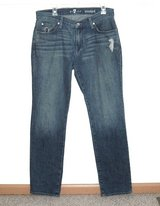 7 For All Mankind Distressed Standard Straight Jeans Men Tag 32 Measures 33 x 33 in Morris, Illinois