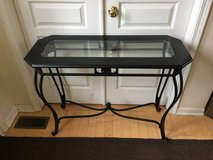 Black Wooden/Wrought Iron Glass Inset Sofa Table/Console in Bolingbrook, Illinois