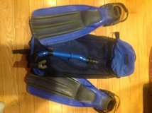 Swim fins, mask and snorkel set with backpack carrying case in Fairfax, Virginia