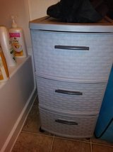 3 Equal Sized Drawer Grey Cart with Grey Lattice Black Pulls Rolling in Vacaville, California