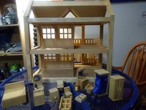 Large Wooden Doll House with accessories in Vacaville, California