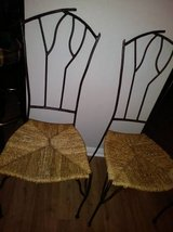 2 Straw Seat with Branch Twig Style Wrought Iron Back Cafe Chair in Travis AFB, California