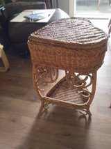 Heart Shaped 2 Tier Wicker Stand With Storage and Lid In Fairfield on Saturday 6/16 if you want ... in Roseville, California