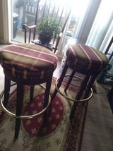 Round Bar Stool with Merlot and Green Plaid Seat in Sacramento, California