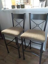 2 Iron Bar Stools Criss-Cross Back  Neutral Colored Padded seat In Fairfield on 6/16 if you want... in Roseville, California