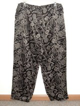 Croft & Barrow Black Tan Floral Silky Satiny Pajama Bottoms Lounge Pants Large in Chicago, Illinois