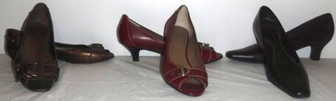 Sz 7 Medium Copper Burgundy Brown Heels -OR- Open Toe Flats Shoes in Lockport, Illinois