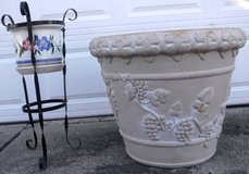 Large Resin Planter -OR- Ceramic Pot with Metal Plant Stand in Joliet, Illinois