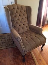 Decorative wing back chair in New Lenox, Illinois