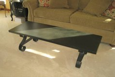Black Wood Coffee Table with Wrought Iron Legs - LANE in Naperville, Illinois