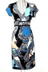 Attention Cap Sleeve Paisley Tie Back Dress Women Small Blue Black Tan White 4 6 in Chicago, Illinois