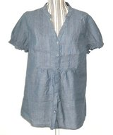 St Johns Bay Blue Chambray Lace Button Down Top Womens Plus 1X Shirt Blouse in Morris, Illinois