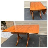 Solidwood Drop Leaf Rectangular Table with Two leaves and Two Pedestal in Chicago, Illinois