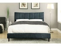 New! QUEEN Ennis Blue Fabric Bed Frame FREE DELIVERY in Miramar, California