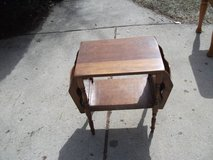 REDUCED....MAGAZINE TABLE AND RACK ALL WOOD ANTIQUE in Tinley Park, Illinois