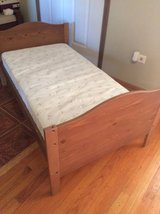 wood toddler bed with mattress in New Lenox, Illinois