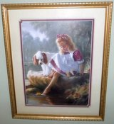 Framed Art - Girl with her Dog - by Mark Arian in Westmont, Illinois