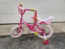 Girls 14 inch Lalaloopsy Pink Bike with doll seat and training wheels in Naperville, Illinois
